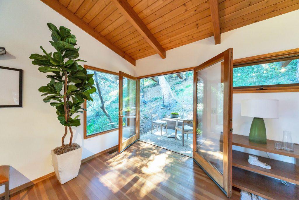out door living room wood deck