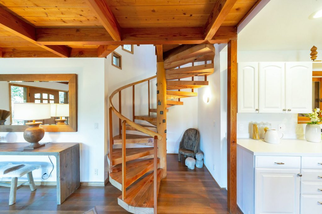 wood spiral staircase rustic