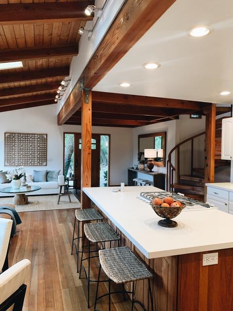 Kitchen island rattan stools rustic modern
