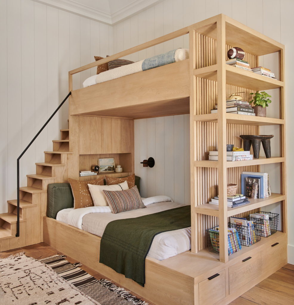 modern bookshelf and stairs bunk drawers for storage