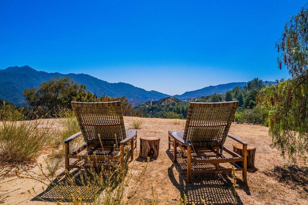 Topanga canyon mountain view with lounge chairs