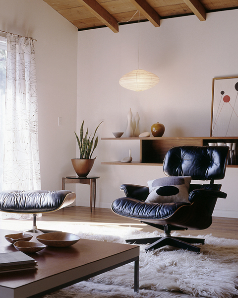 Eames chair black Japanese modern living room neutral tones fur rug