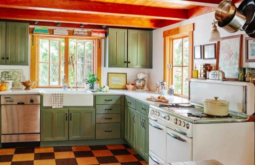 country kitchen green cabinets