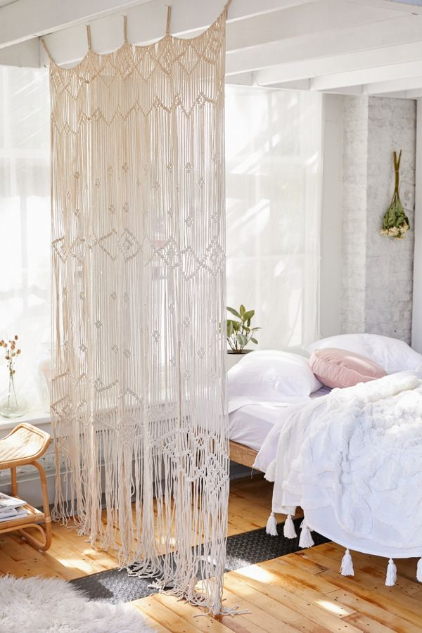Macrame bedroom bed covering wicker side table