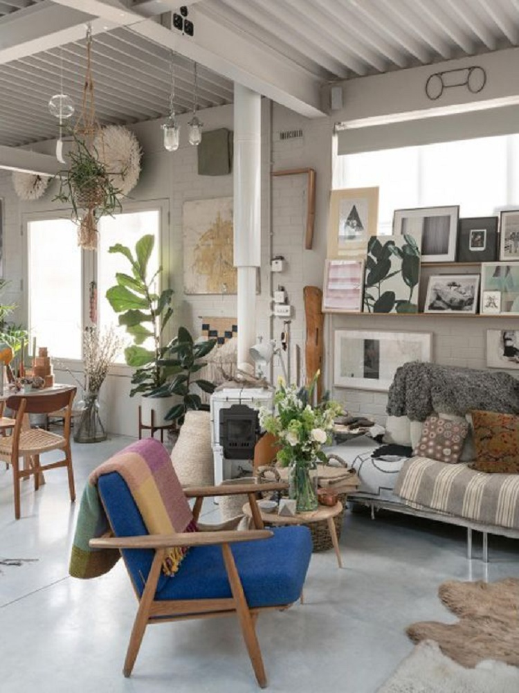 modern chair in eclectic living room muted colors