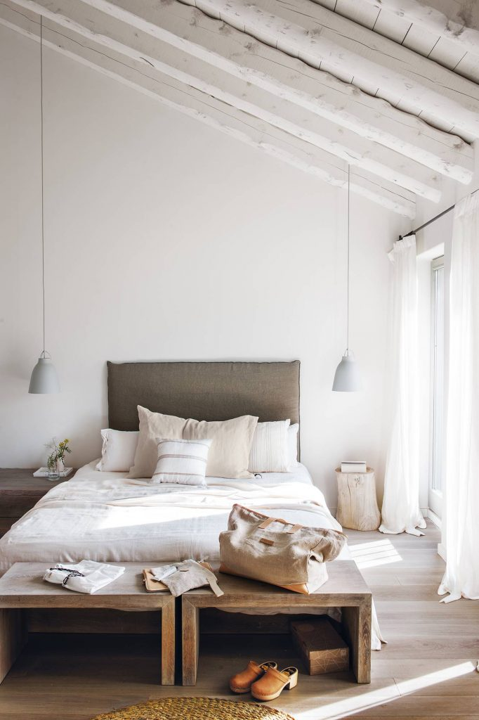 rustic modern bedroom white bedroom neutral slipcover bed board