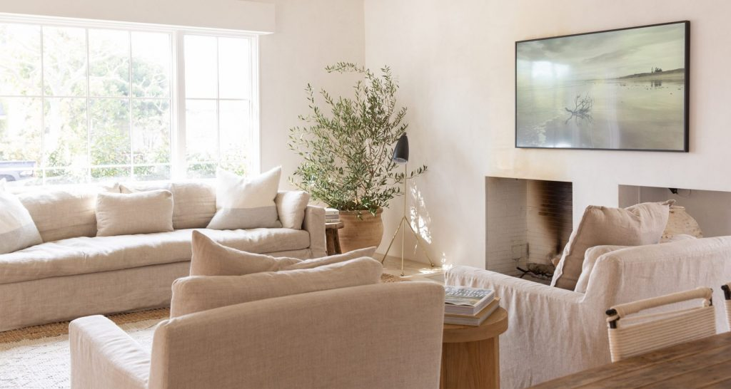 neutral living room modern fireplace photographic art large plant holder and plant