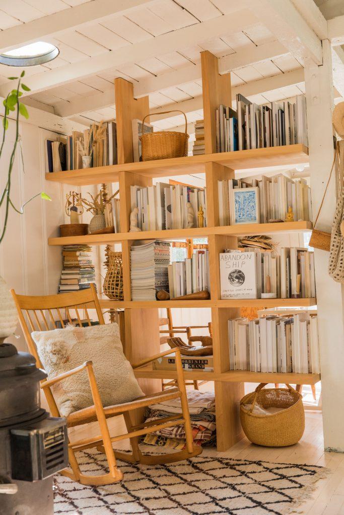 open book shelves modern rocking chair