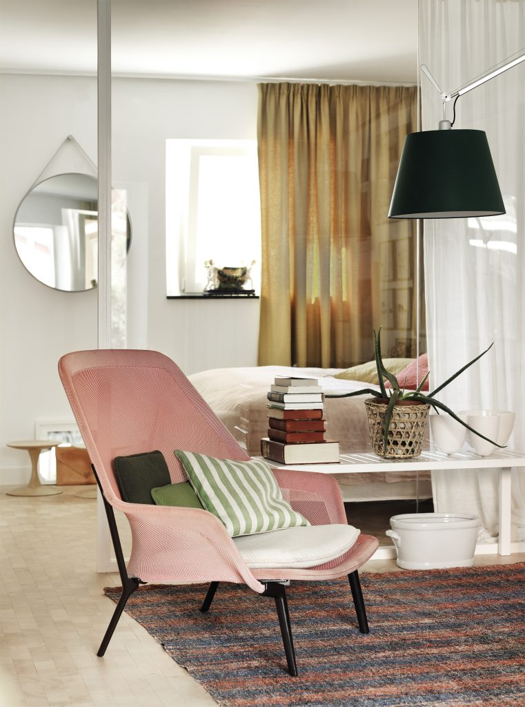 pink chair in bedroom floor to ceiling curtains soft modern  curtain partition