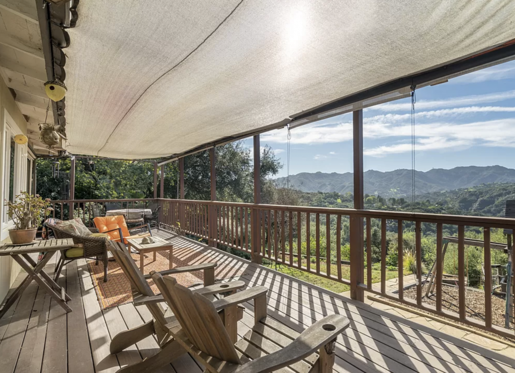 Topanga Canyon mountain view from shaded deck