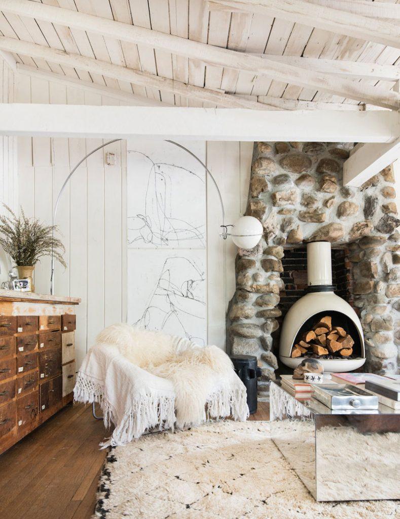 stone wall niche wood burning frieplace