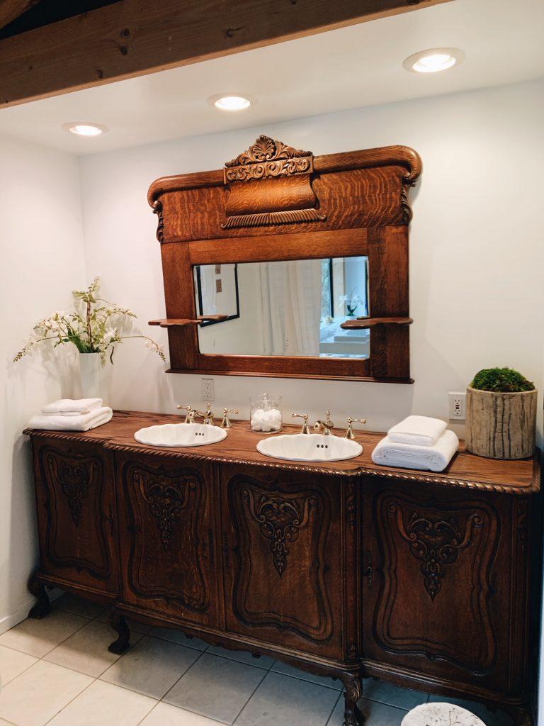 antique double vanity wood