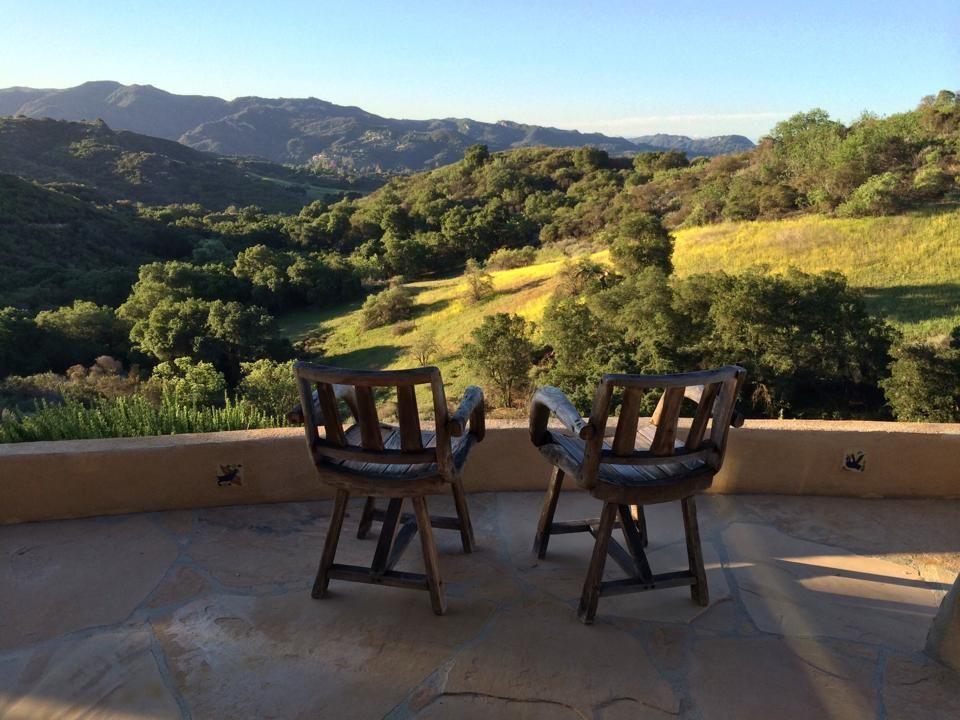 green mountain Topanga Canyon view with chairs