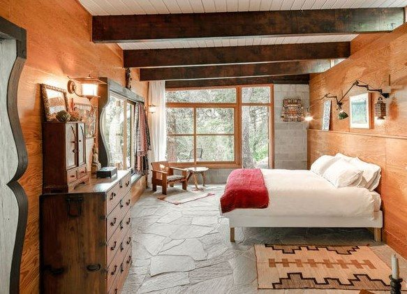rustic modern bedroom stone floor