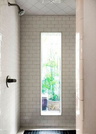 long window in shower