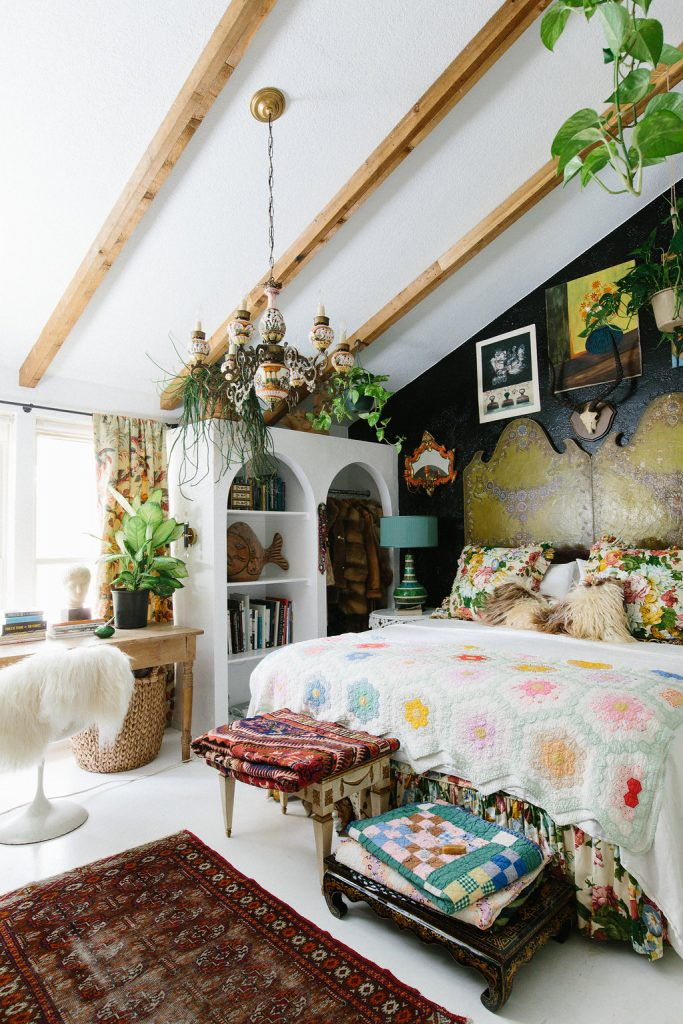 boho bedroom eclectic and whimsical unique book shelve hairy chair
