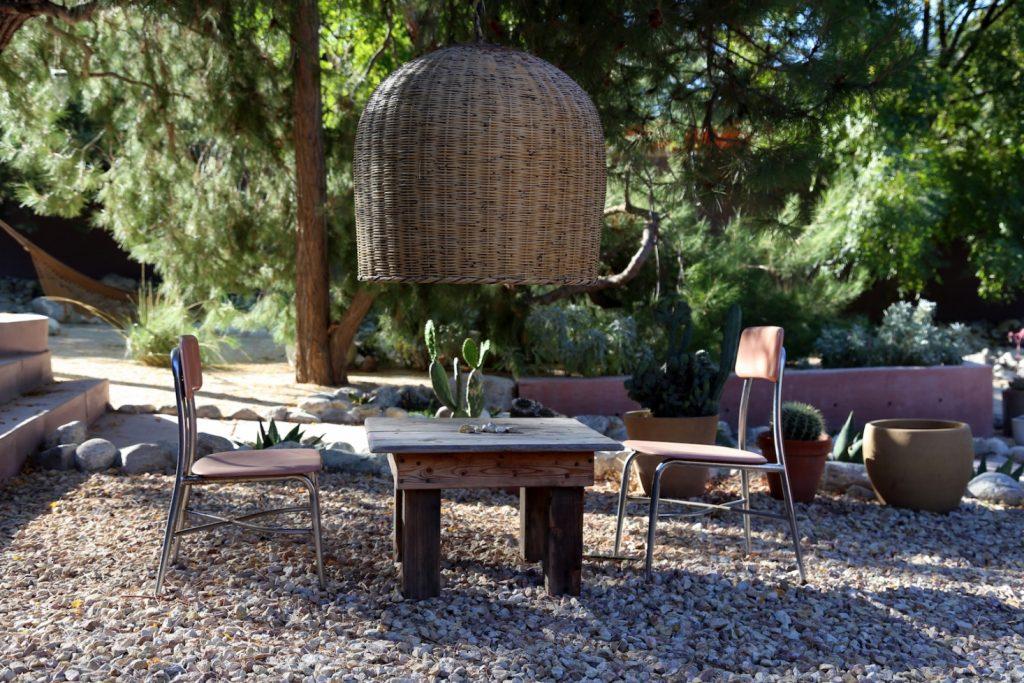 Hanging basket outdoor lamp gravel grounds terra-cotta  pots stone garden