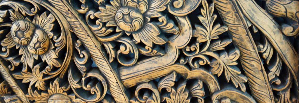 closeup of wood carving
