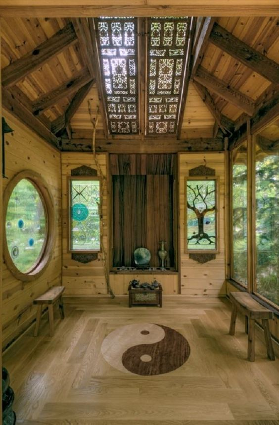 meditation room with creative windows