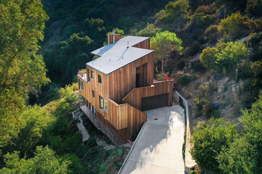 modern wood house canyon house
