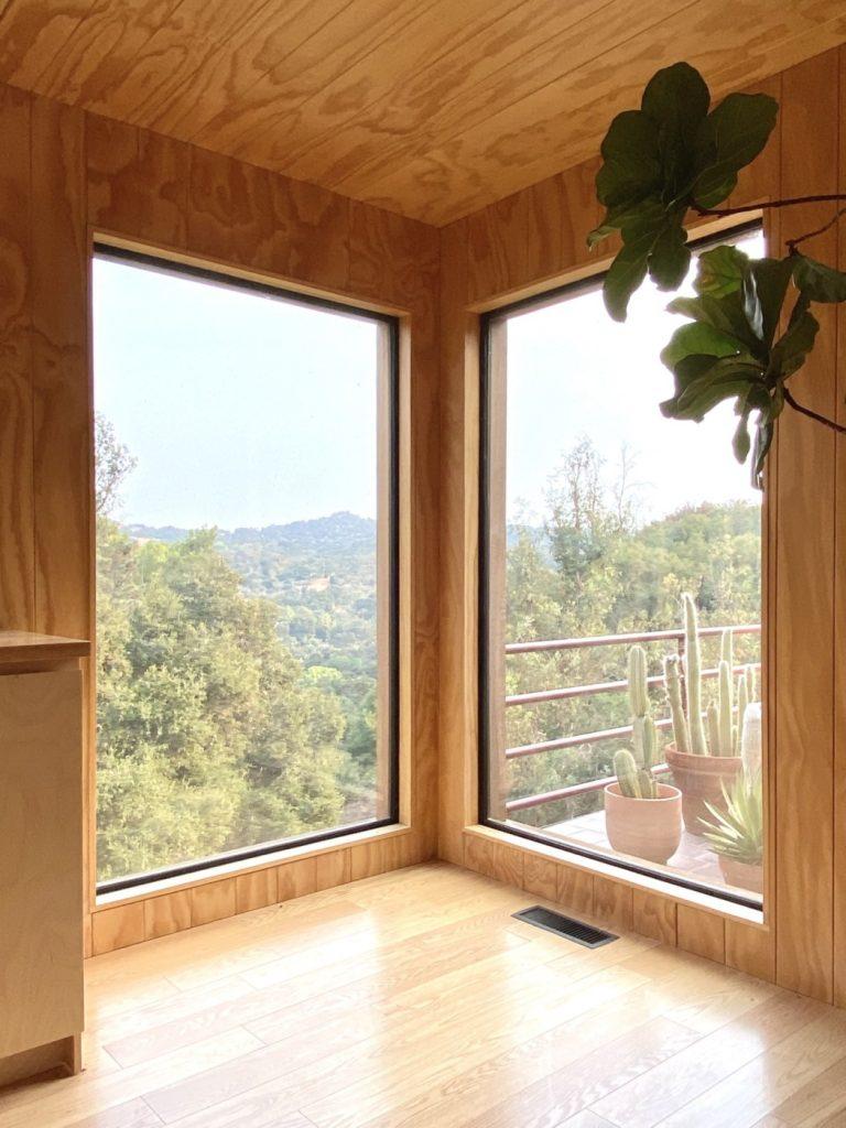 large corner windows wood ceiling