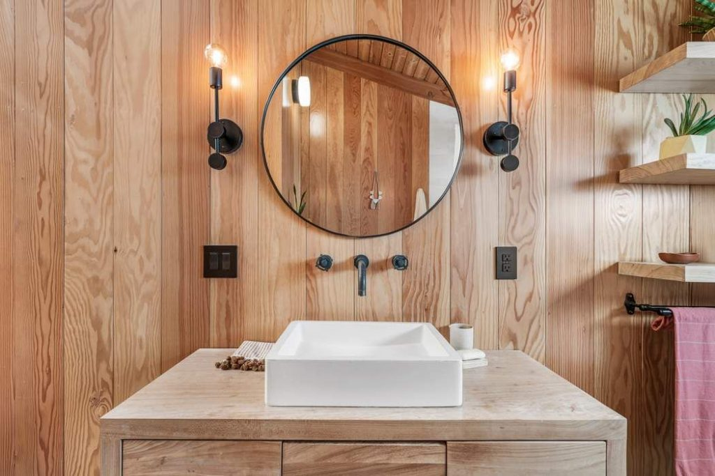 modern rustic Topanga Canyon home bathroom sink round mirror