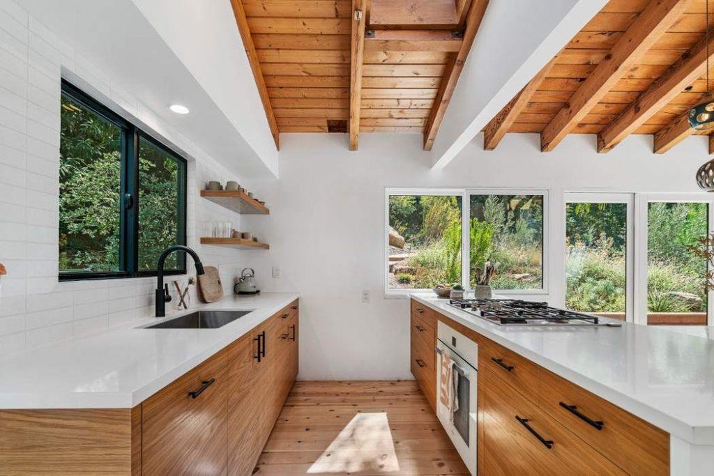 modern rustic Topanga Canyon home open kitchen