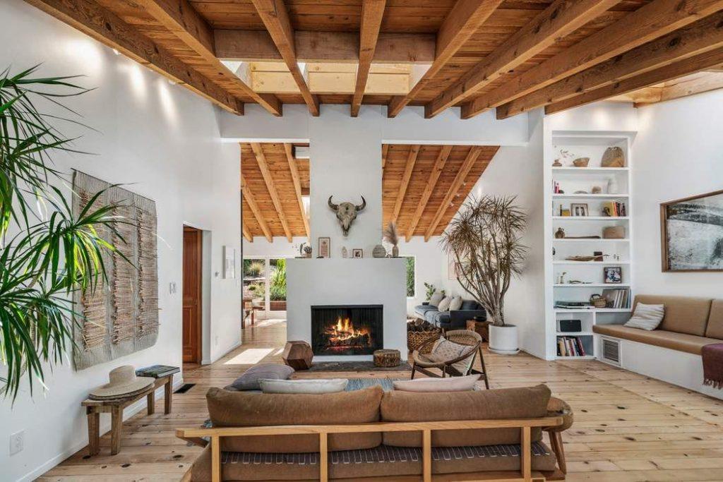 modern rustic living room fireplace wood
