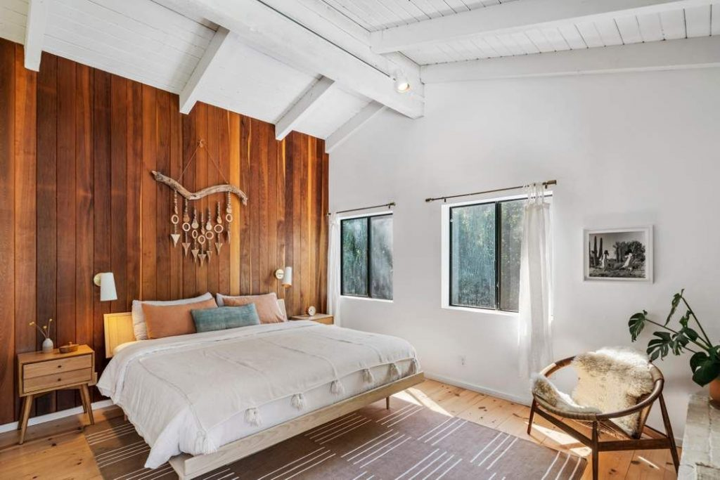 modern rustic Topanga Canyon home master bedroom