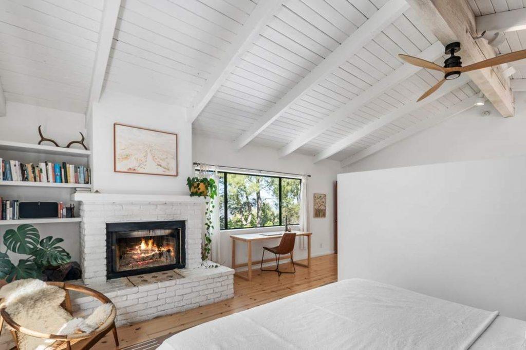 modern rustic Topanga Canyon home masterbedroom fireplsce