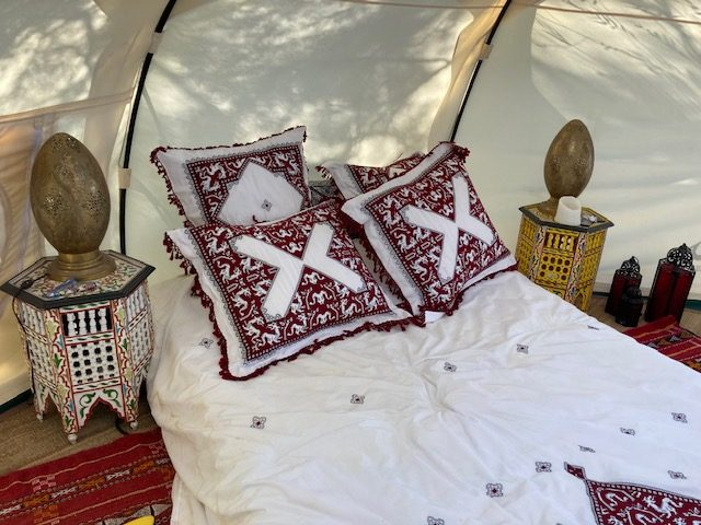 low bed in tent