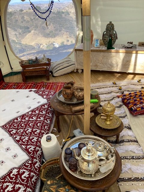 low side tables with tea set and incense burner